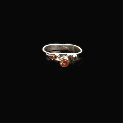 """Gold Faceted Stone Silver Ring """"Harvest"""""""