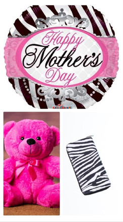Happy Mothers Day Zebra Balloon & Wallet