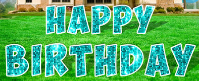 Teal Happy Birthday Lawn Letters