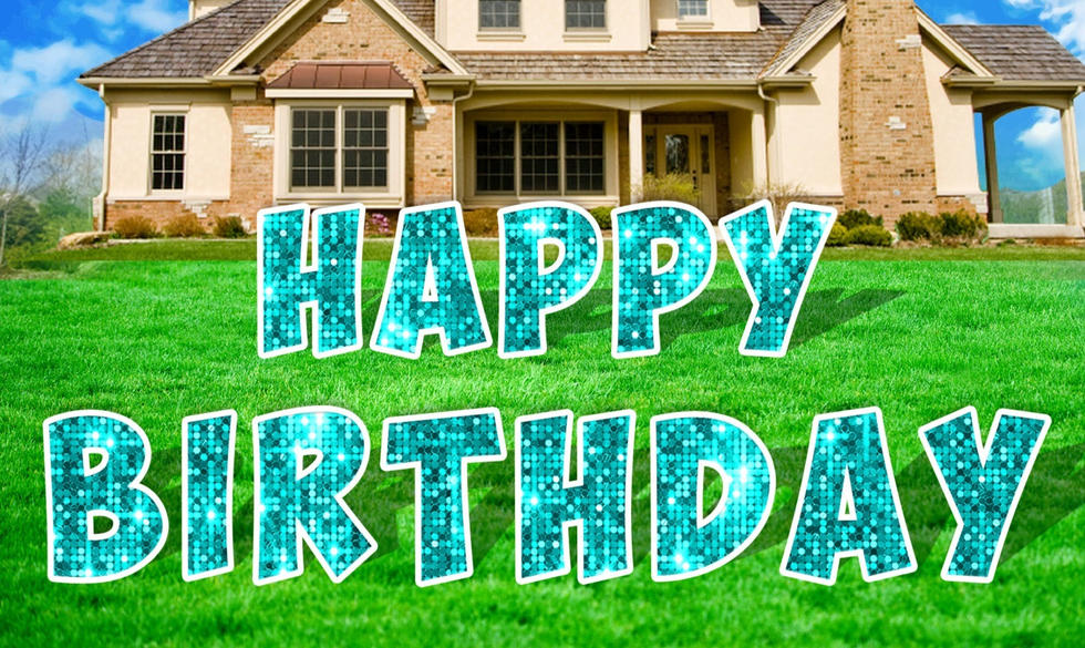 Teal Happy Birthday Letters