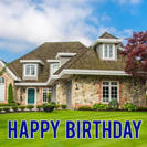 Blue Happy Birthday Lawn Letters
