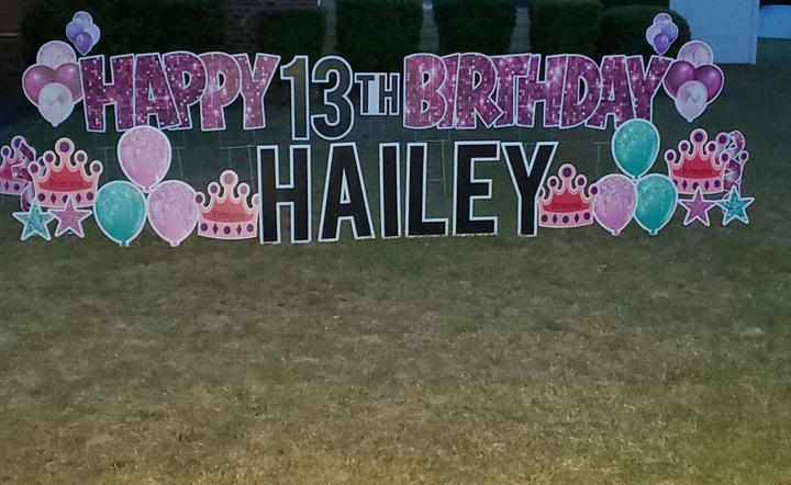 Pink Happy Birthday Letters