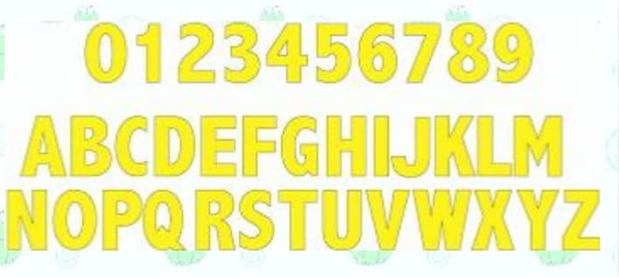 A-Z & 0-9 Yellow Lawn Letters