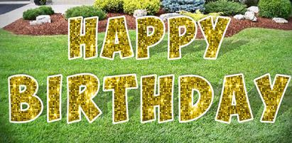 Gold Happy Birthday Lawn Letters