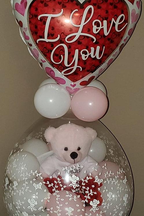 Teddy Bear & Artificial Roses