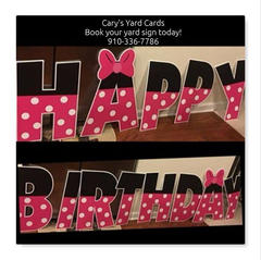 Pink And Black  Happy Birthday Lawn Letters