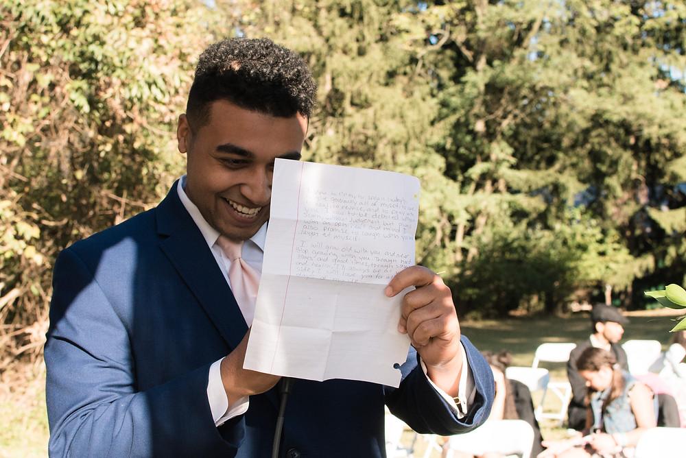 figure eight barn wilmington wedding proud of his handwritten vows outdoor wedding
