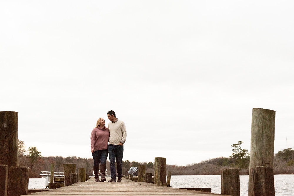 Covid 19 wedding coupleBoat Dock at Killens Pond Felton, Delaware engagement session by Shannon Ritter Felton Photographer