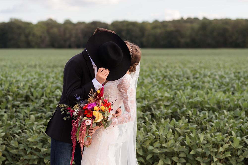 Vanderwende Acres sussex County Delaware hiding bride and groom in soybean field