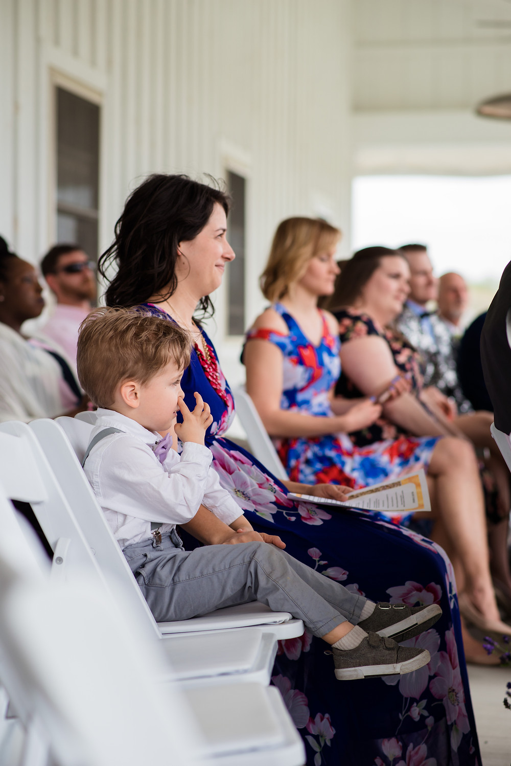 Ring bearer picking his nose during ceremony Kylan Barn Eastern Shore