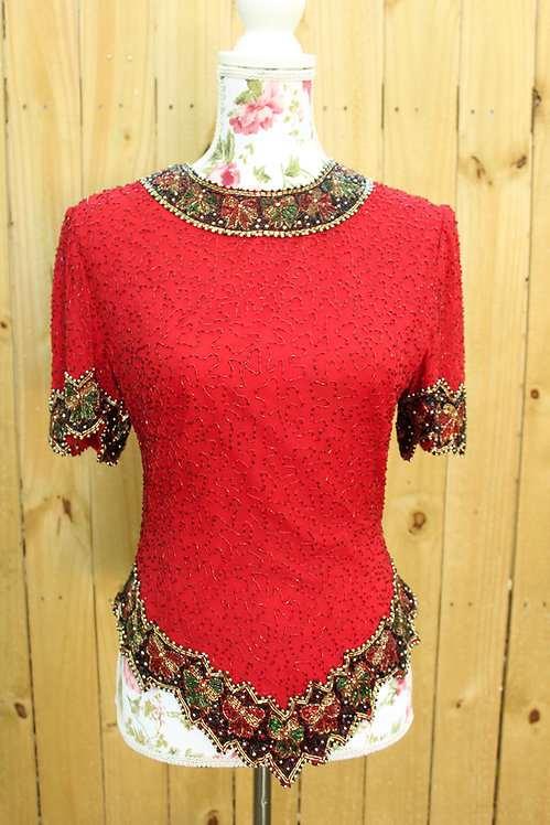 80s Laurence Kazar Beaded Sequin Top