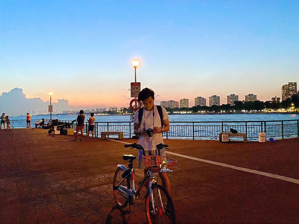 Guy with SG Bike at Bedok Jetty