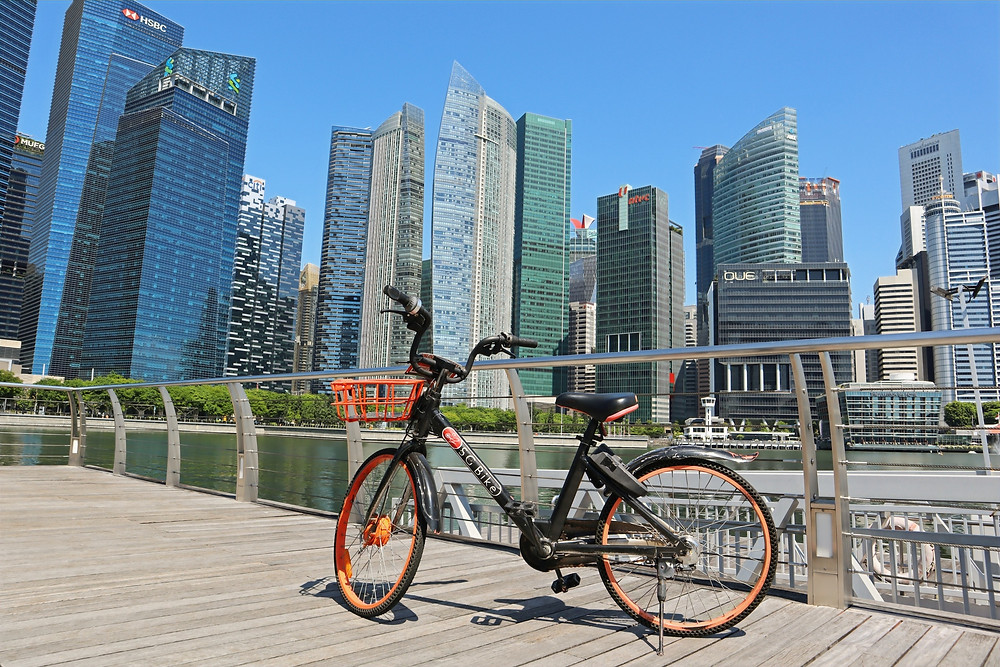 SG Bike docked gracefully by the bay.