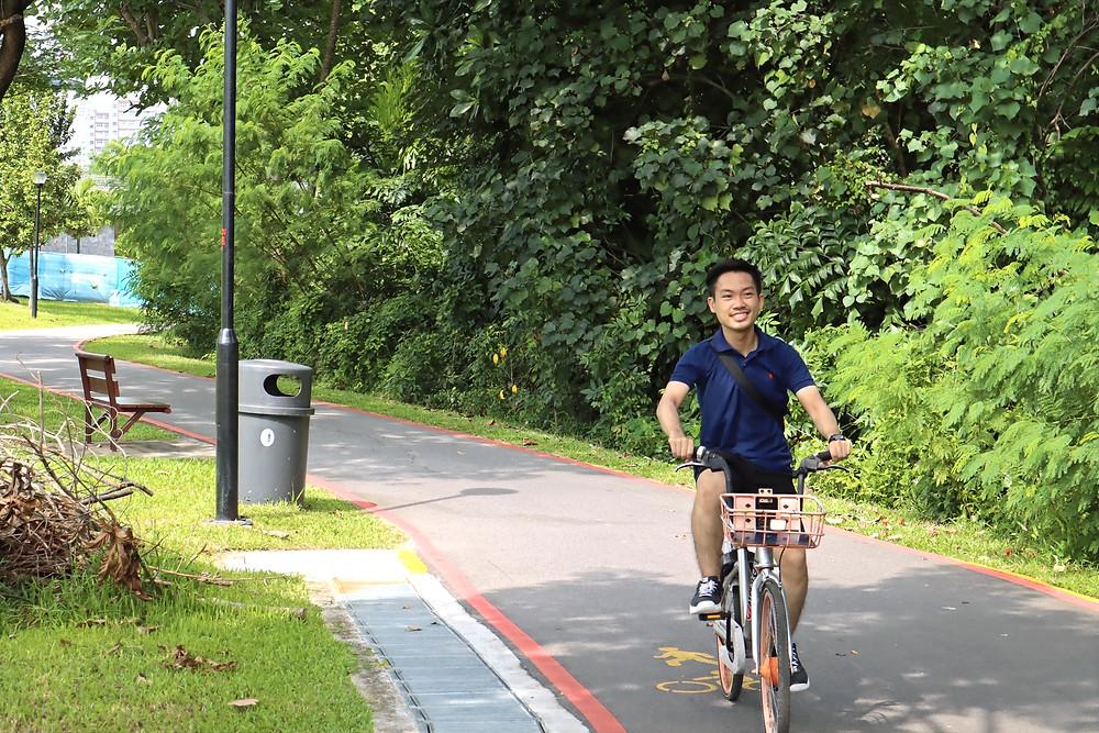 Cycling at Sengkang Riverside Park