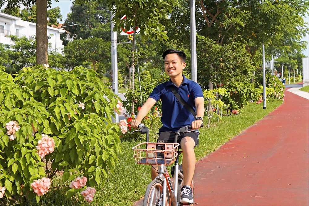 Cycling along Buangkok Park Connector
