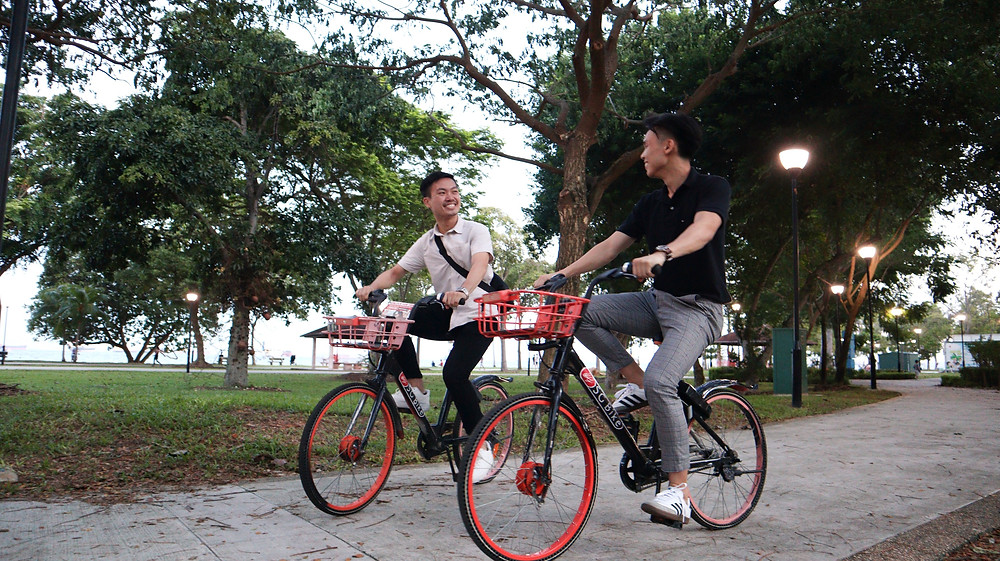 Two friends cycling in the park