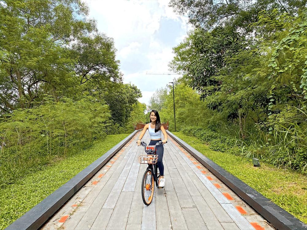 Cycling along Punggol Promenade Nature Walk