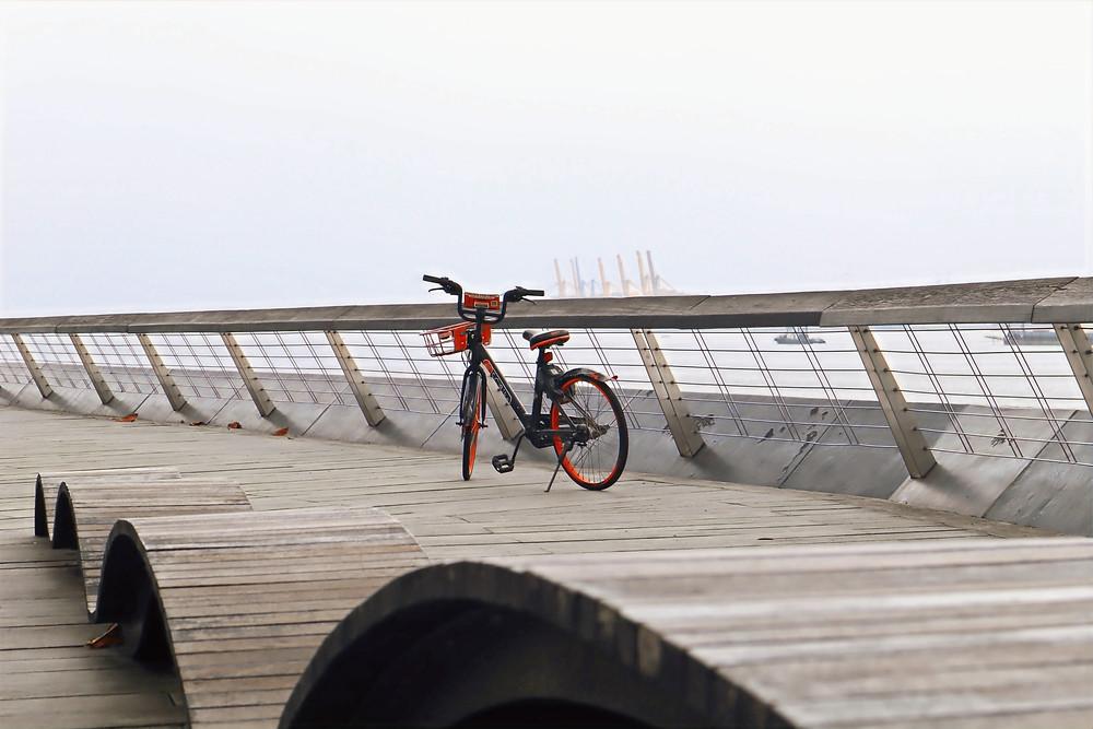 Bicycle parked at Punggol Promenade Punggol Point Walk