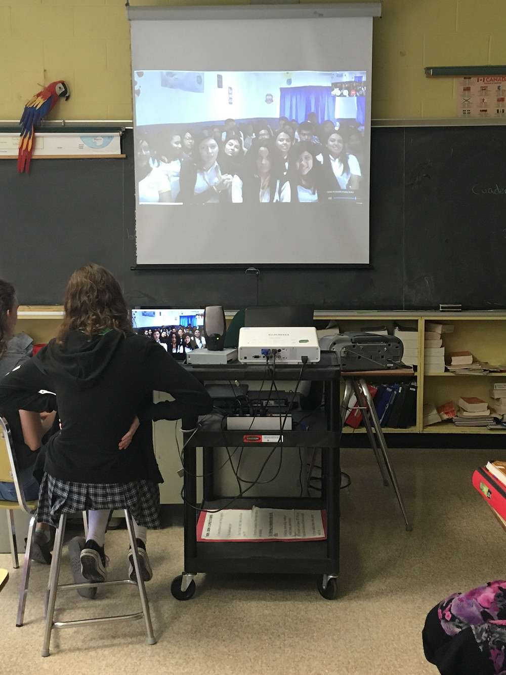 Salvadoran students on Skype with a Canadian class