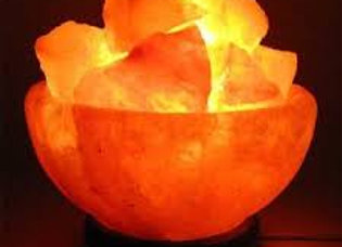 Zennery Himalayan Salt Fire Bowl Lamp With Wooden Base