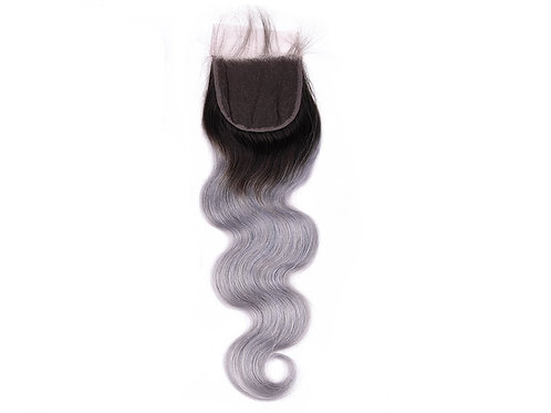 High Ombre Gray Body Wave Closure