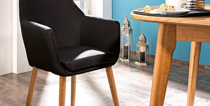 Schicker und gemütlicher Stuhl - in Stoff anthrazit