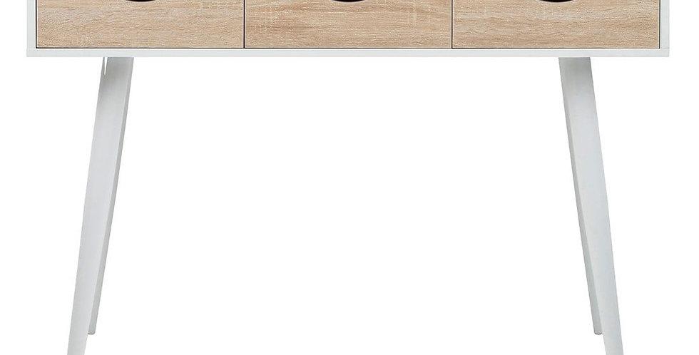 Trendiger Schreibtisch weiss/Holz