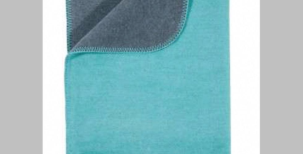 Kuschelige hochwertige Decke - türkis/grau