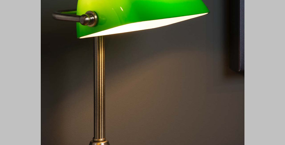 Kleine Bankers Lampe mit grünem Schirm