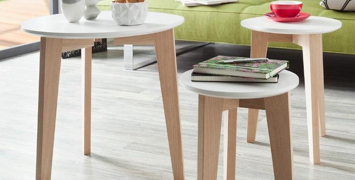 3er Set Tische in weiss mit Holzbeinen