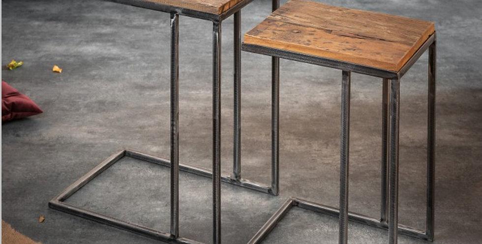 2er Set Tische aus Massivholz
