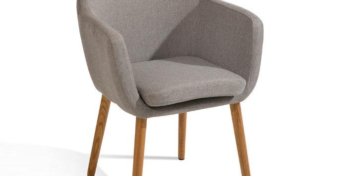 Schicker und gemütlicher Stuhl - in Stoff hellgrau