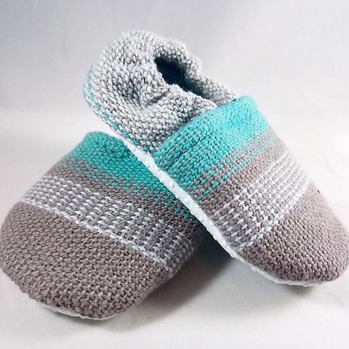 9 -12 mo. Booties - Tightrope Textiles Turquoise (#3377)