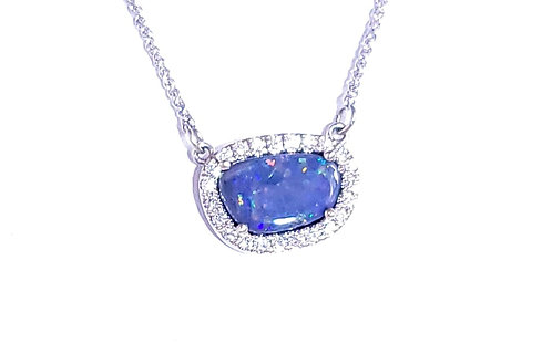 14Karat Black Opal & Diamond Necklace