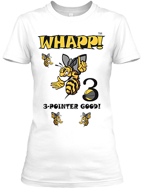 Whapp! 3-Point Shot Women's Fitted Yellow Jacket T-Shirt