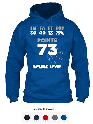 Raymond Lewis 73-Point Hoodie Royal Blue
