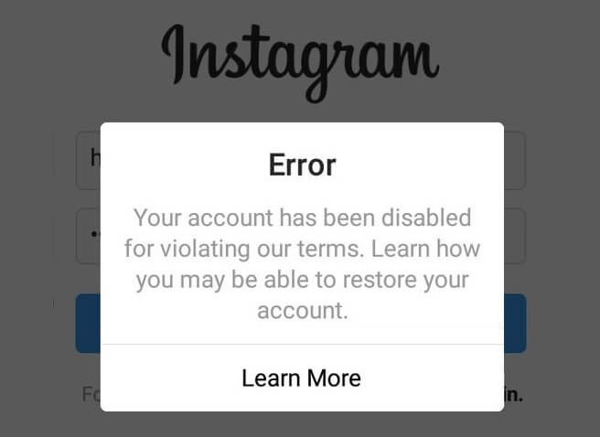 Disabled Instagram Account
