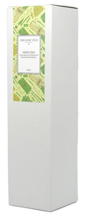 Sweet Zing – Lemongrass & Cedarwood Organic Reed Diffuser 50ml