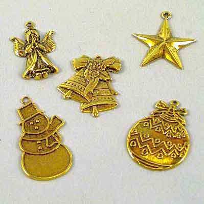 ML185C - ANTIQUE GOLD METAL CHRISTMAS CHARMS