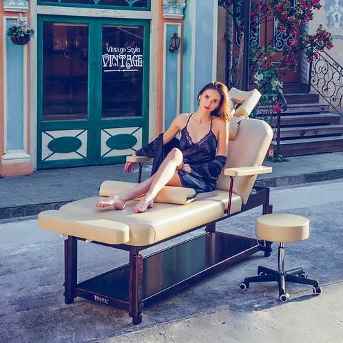 "Master Massage 31"" Samson Stationary Table Salon Beauty Bed with Shelf and Stool"