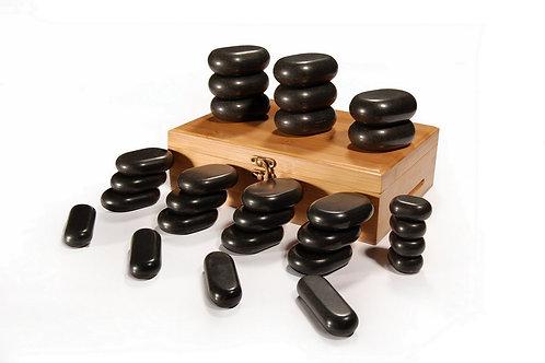 Master Massage 28 Pieces Hot Stone Set Black Lava vocano Basalt Rock