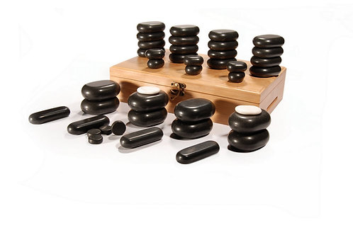 Master Massage 40 Pieces Standard Hot Stone Set Black Lava vocano Basalt Rock