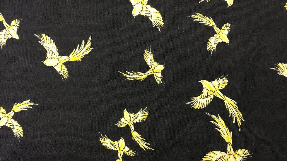 Mustard Birds Round Corners