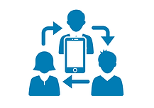 group of 3 people with a mobile device in the middle, with arrows implying ongoing process