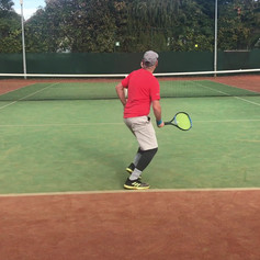 Darren and Guy working on singles Patterns on the backhand side. Game situation is both back and the tactical intention is building.