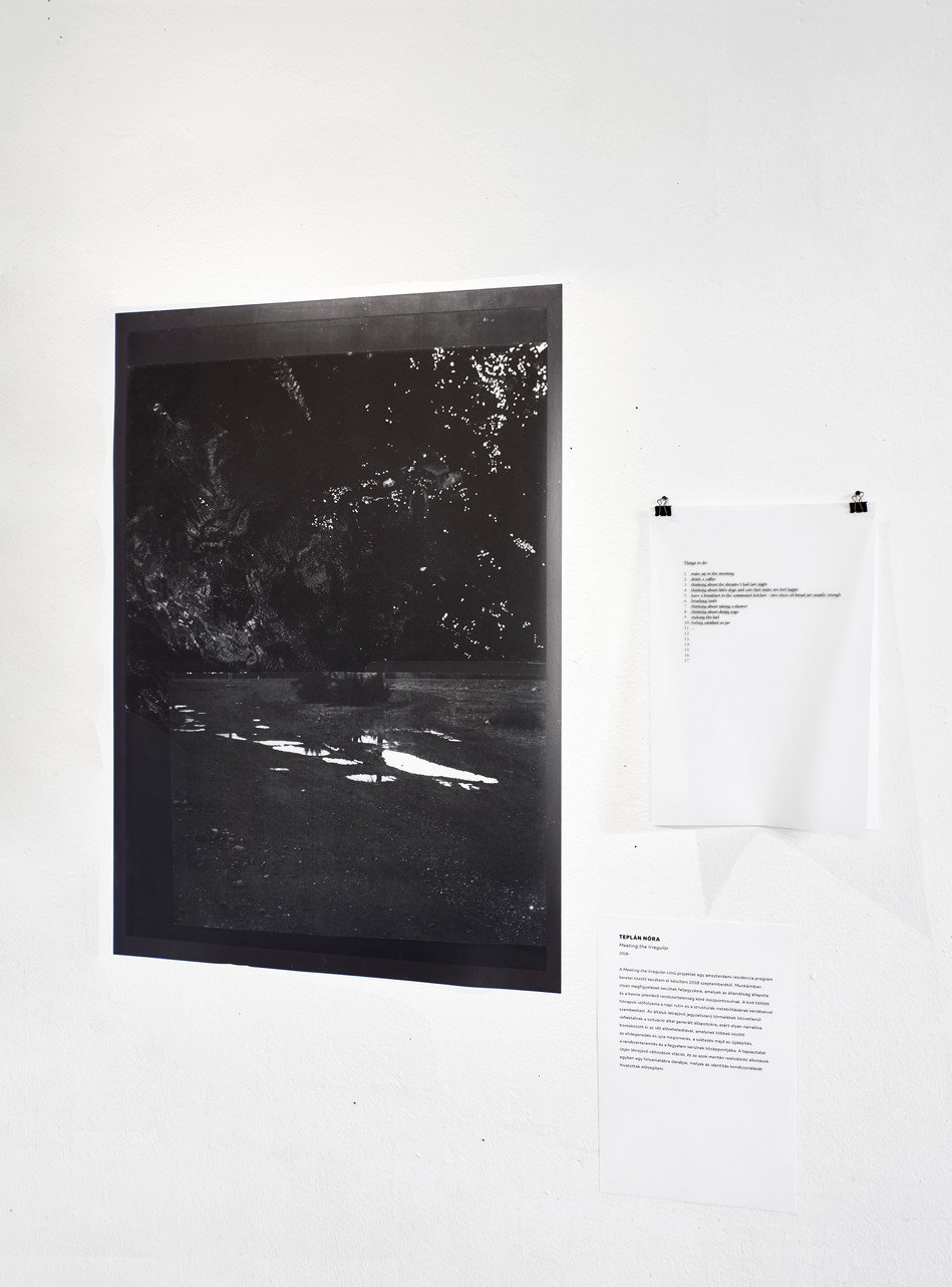 nora teplan, meeting the irregular, digital print and text, 2019 / kraft_werk exhibition view in studio gallery, FKSE, budapest