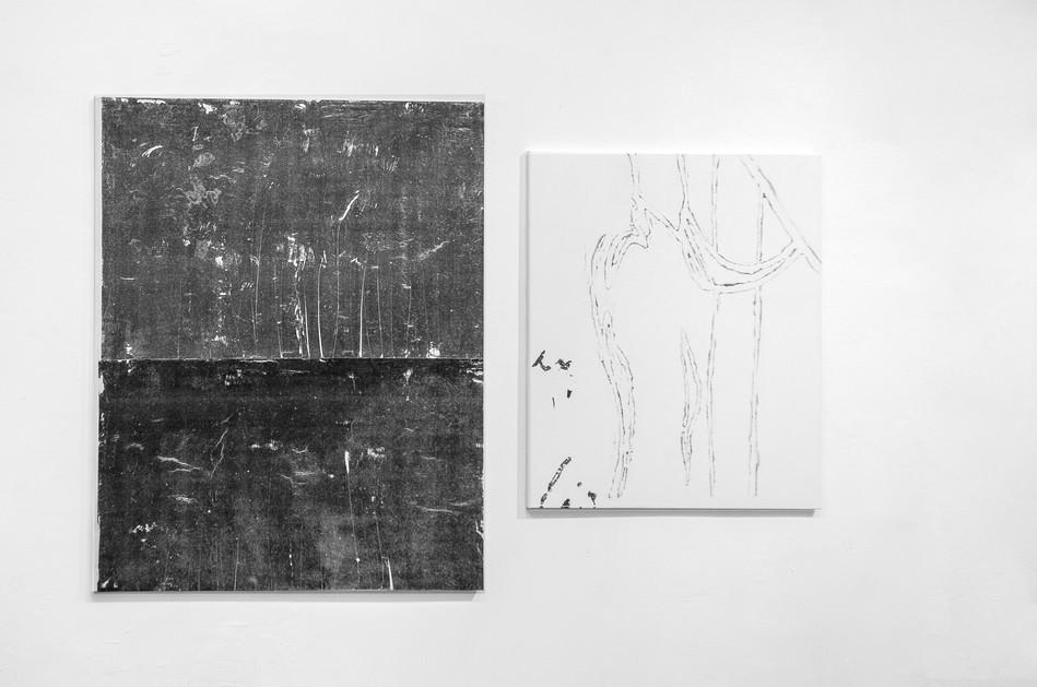 nora teplan, ianus I-II, interlude series, acrylic transfer on canvas, 130 x 105 cm and 95 x 80 cm, 2019/ LOOPexhibition view, MŰTŐ, budapest