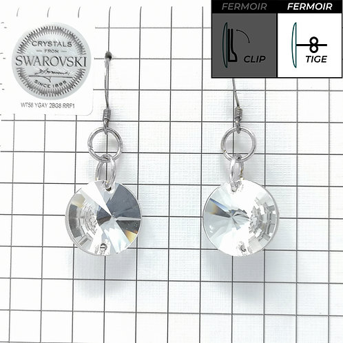 Boucles d'oreille crochet - Simple Pendant 3200 16mm - Crystal