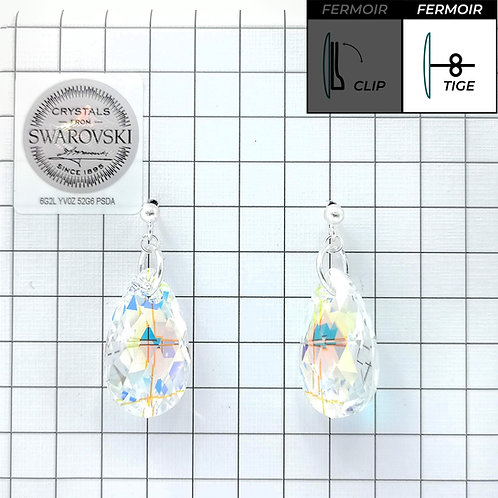 Boucles d'oreille - Pendant Pear Shaped -Crystal AB