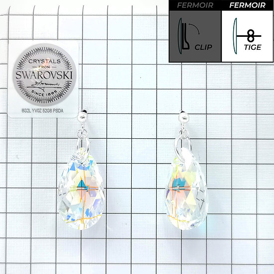 Boucles d'oreille - Pendant Pear Shaped -Crystal AB